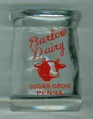 Glass Creamer Bottle Super Nice Stewart/'s Spring Grove Farm 1//2 oz